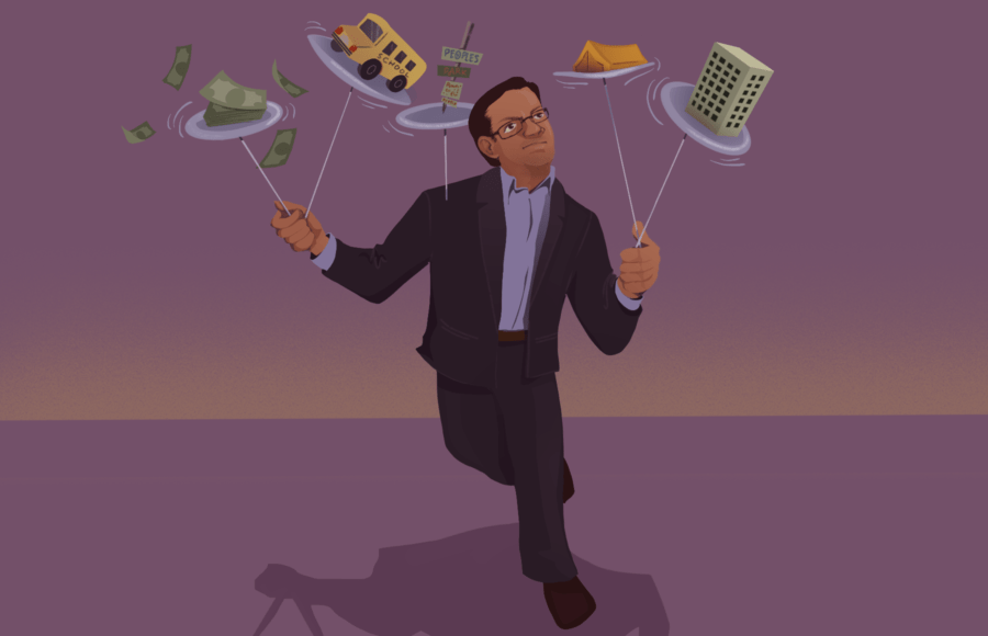 Illustration of a man juggling many things