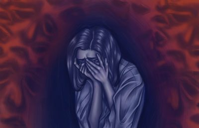 Illustration of a devastated woman