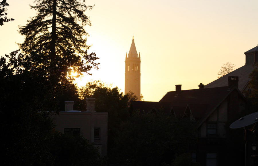 photo of the campanile and a sunset