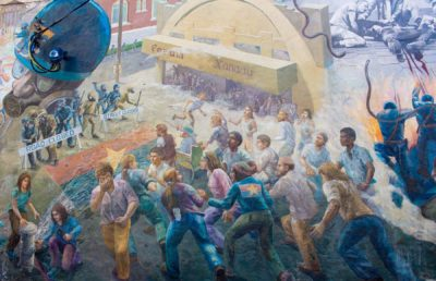 """Photo of """"People's History"""" mural on Telegraph"""