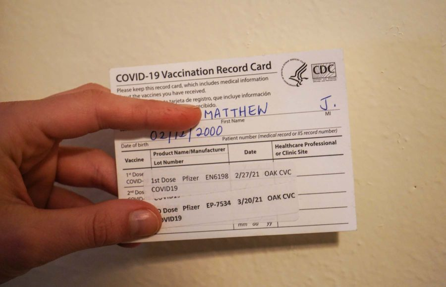 Photo of a vaccination record card