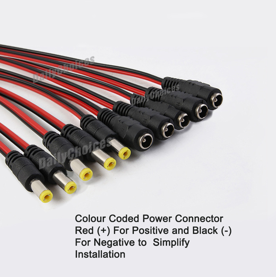 medium resolution of details about 5pair 12v 5 5x2 1mm male female dc power socket jack connector cable plug wire
