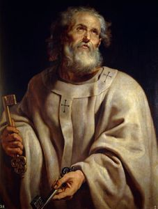Painting of Saint Peter by Peter Paul Rubens depicting the saint as Pope—here shown with the pallium and the Keys to Heaven (Photo credit: Wikipedia)