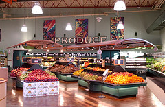 Grocery Store Interior Signage | Market Produce Area Upgrade | Suspended Metal Trellis | North Coast Co-op (Photo credit: I-5 Design & Manufacture)