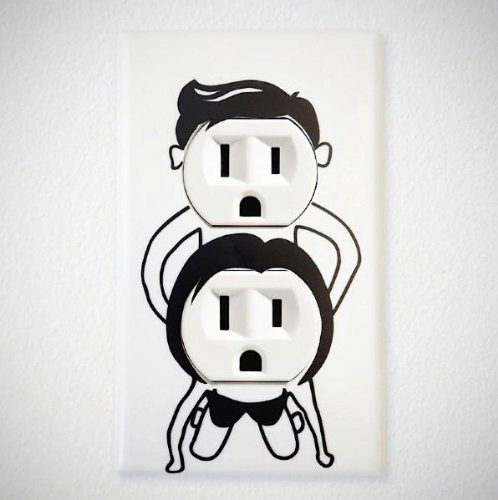 Naughty Outlet Cover Decal