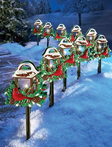 Cardinal Holiday Lantern Path Lights