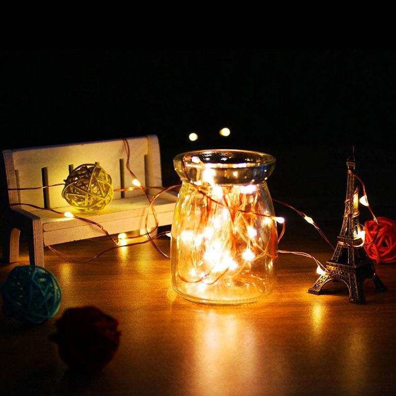 Outdoor LED String Lights in a Jar
