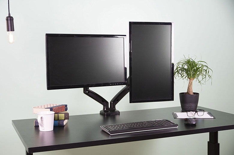 Dual Monitor Height Adjustable Desk Mount Stand