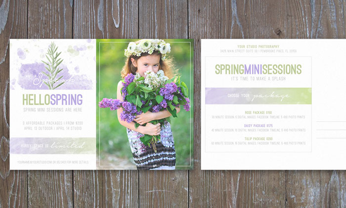 Photography Marketing Postcard Flyer Spring Mini Sessions