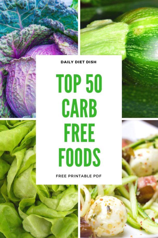 Carb Free Foods List Printable PDF