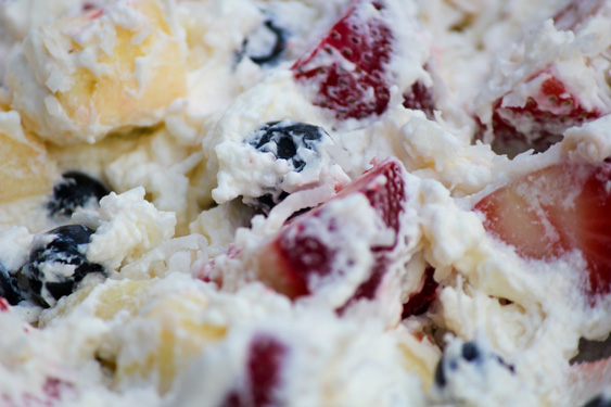 Red, White and Blue Fruit Salad with Coconut Milk Whipped Cream