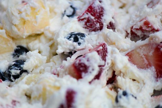 patriotic fruit salad with coconut milk whipped cream