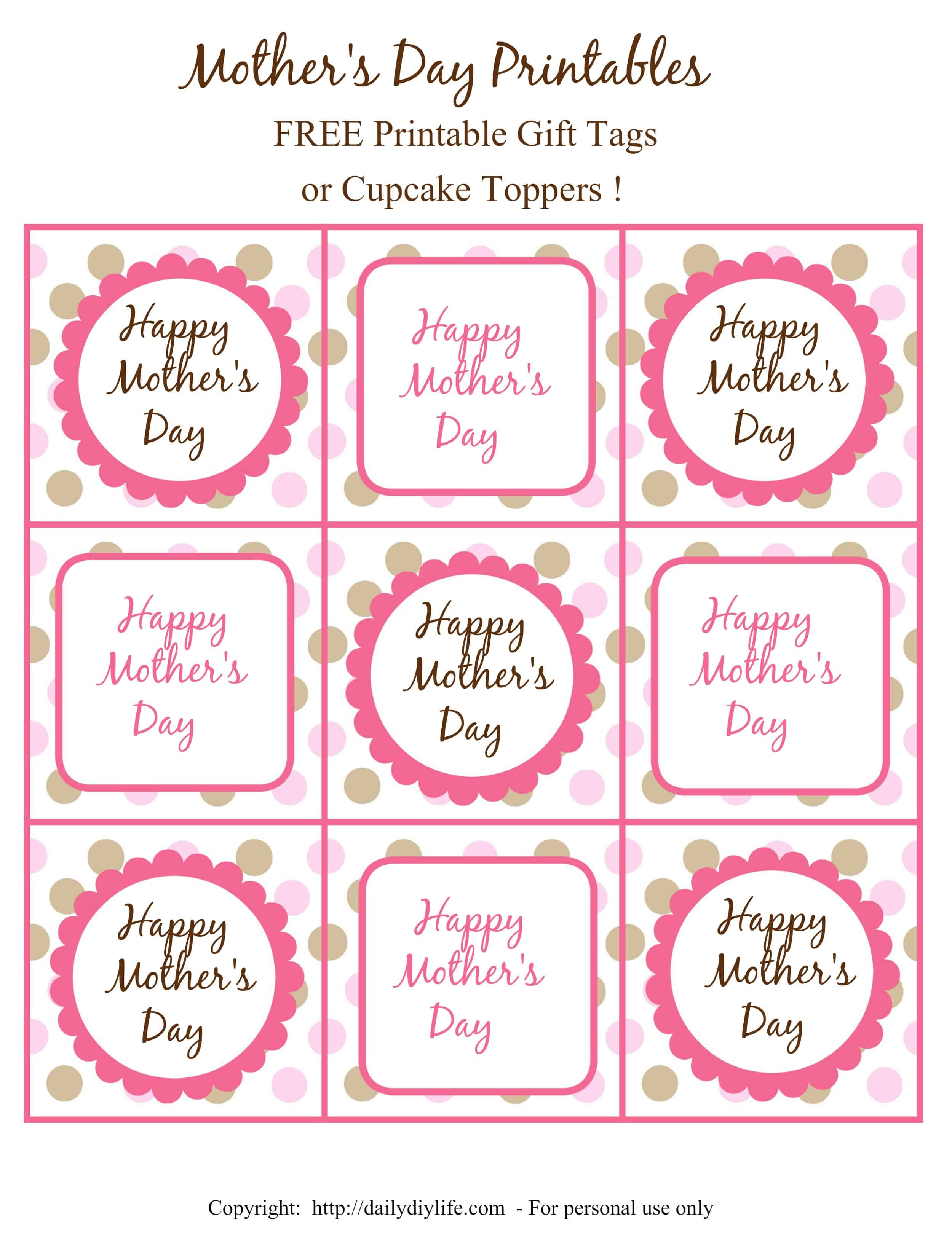 Mother S Day Free Printable T Tags Or Cupcake Toppers