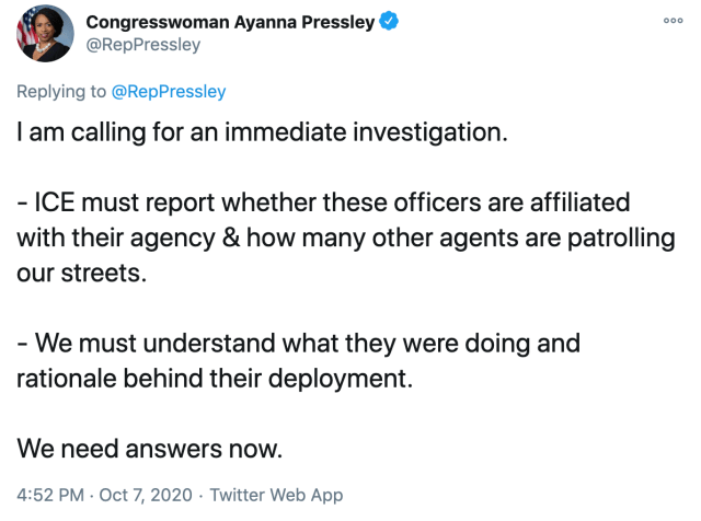 I am calling for an immediate investigation.   - ICE must report whether these officers are affiliated with their agency & how many other agents are patrolling our streets.  - We must understand what they were doing and rationale behind their deployment.   We need answers now.
