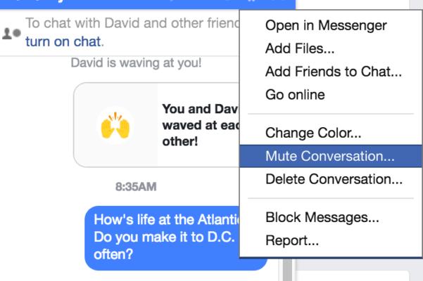 Trucos de Facebook Messenger: notificaciones de silencio