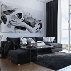 Living Room Color Schemes Black Leather Couch Dark Gray Sectional Ideas Small Artsy Monochromatic Loft With A Luxe Vibe - Daily ...