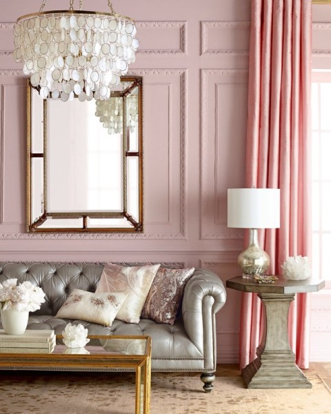 pink glam living room decor 10 pink spaces that you will fall in love with - Daily