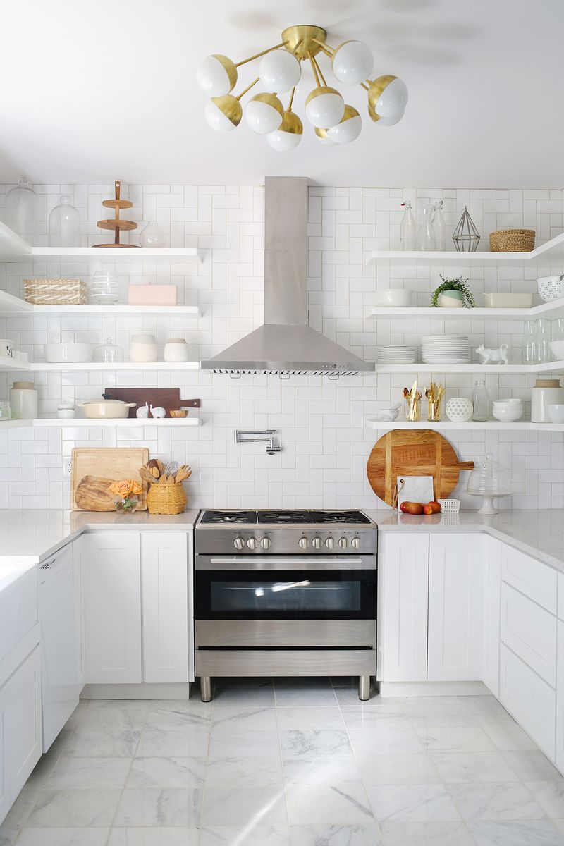 White with gold accents kitchen  Daily Dream Decor