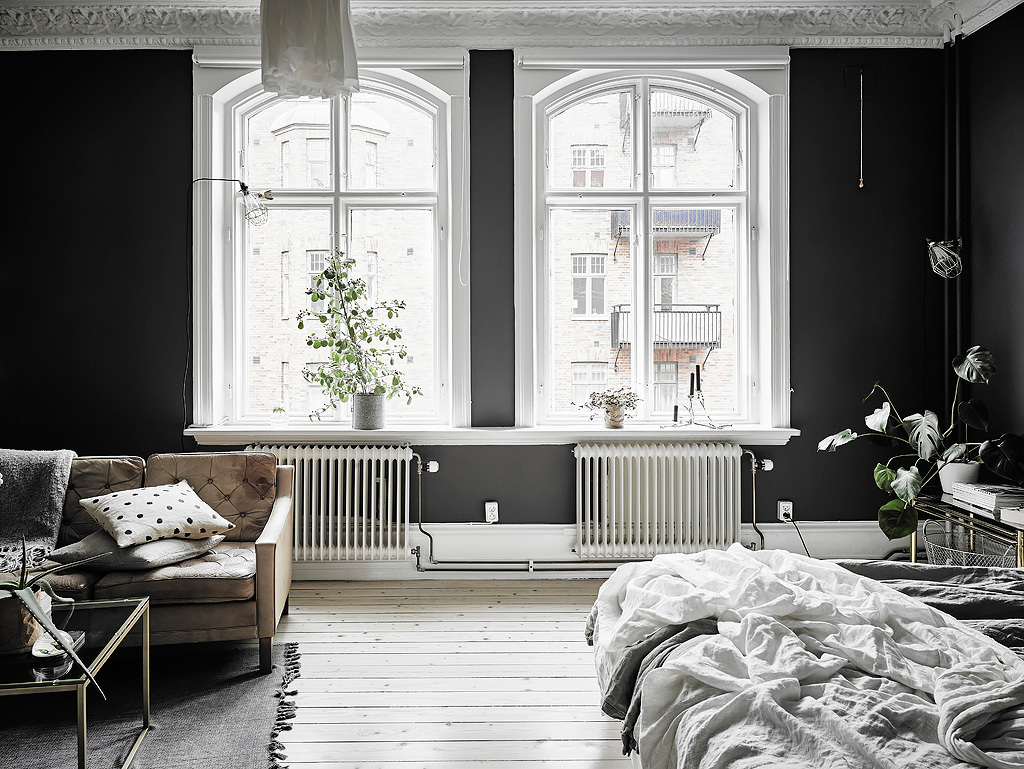 Dreamy scandi apartment with black walls  Daily Dream Decor