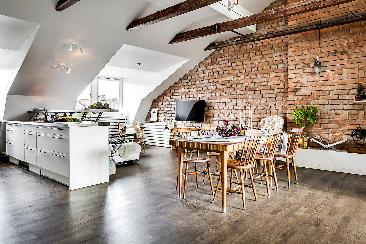 A gorgeous attic apartment with a brick wall  Daily Dream