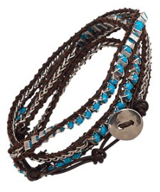 Max and Chloe's Blu Bijoux Turquoise Beaded Wrap Around Bracelet
