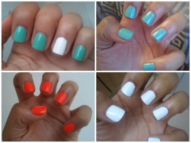 Nail polish, essie, turquoise and caicos, NYC French White Tip, INM out the door Top coat, spoiled by wet n wild