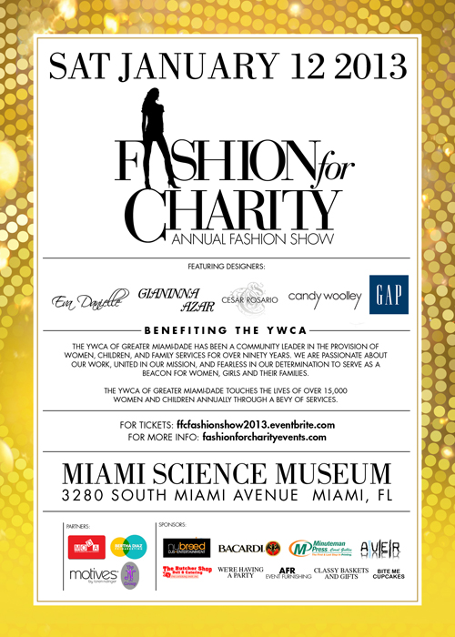 Fashion for Charity, Fashion for Charity invite,  Fourth Annual Signature Fashion Charity Event to Benefit YWCA of Greater Miami-Dade, YWCA of Greater Miami-Dade, MIAMI SCIENCE M-- USEUM