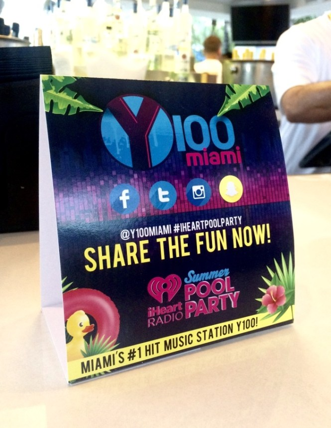 iheartradio summer pool party 2016, iheartradio summer pool party, y100 table tent, miami y100