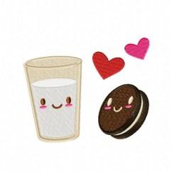 Retro Kids Kitchen Countertop Perfect Match Milk N' Cookie Machine Embroidery Design ...