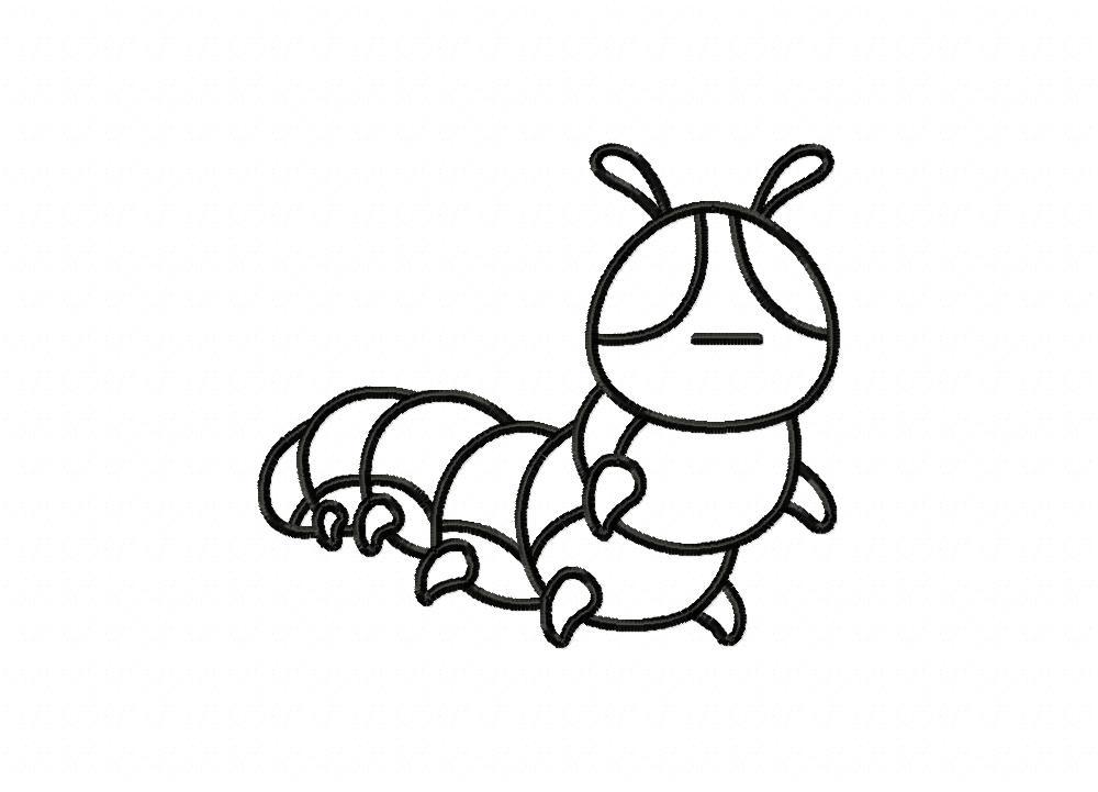 Caterpillar Insect Outline Machine Embroidery Design