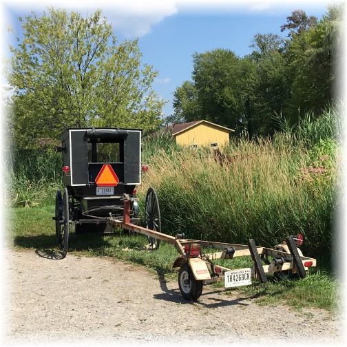 Amish buggie with boat trailer near Shipshewanna, Indiana 8/4/16