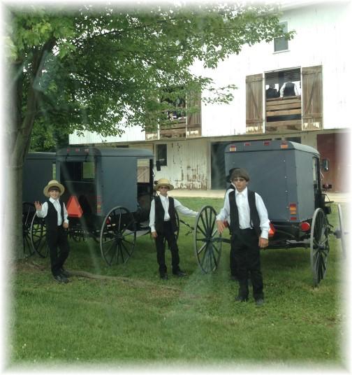 Amish boys at church gathering 6/29/14