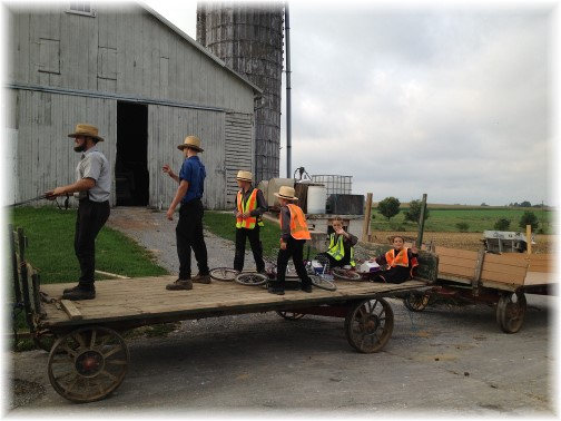 Amish children riding to school on wagon 9/11/14