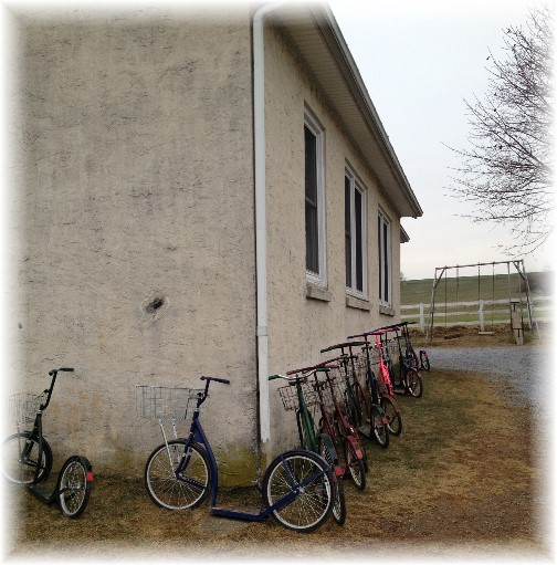 Amish one room school with scooters 12/22/14