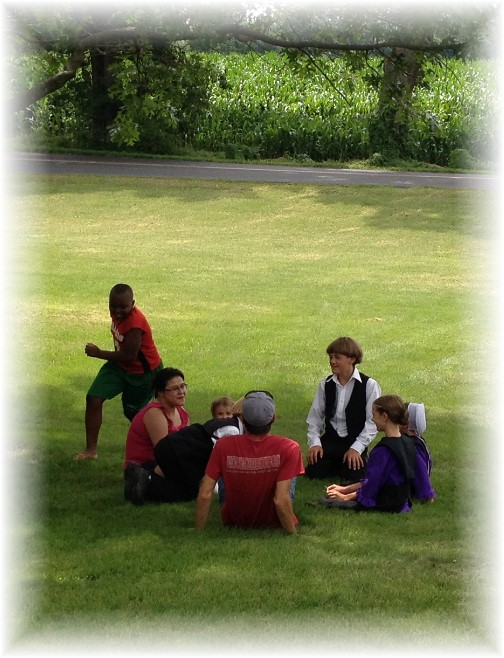 Children playing duck, duck, goose 7/12/15