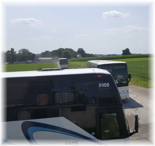 Tour busses enter Jewish farm 7/20/16