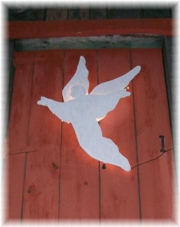 Angel on our barn loft door