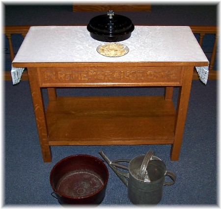 Communion Table and feetwashing items