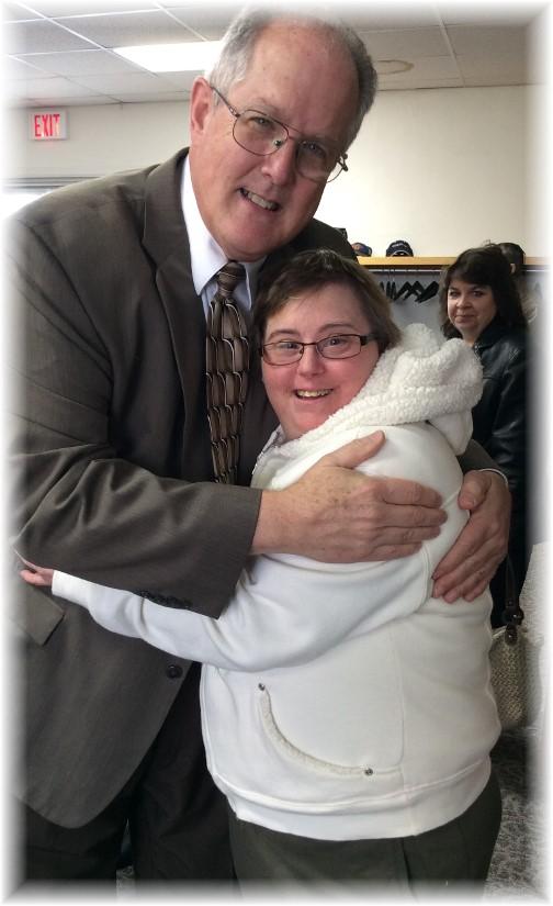Pastor Keefer hugging Connie 11/16/14