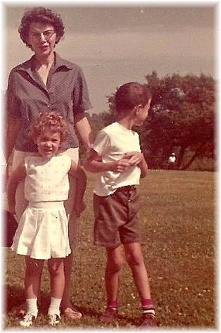 Childhood photo with Mom and Genelle