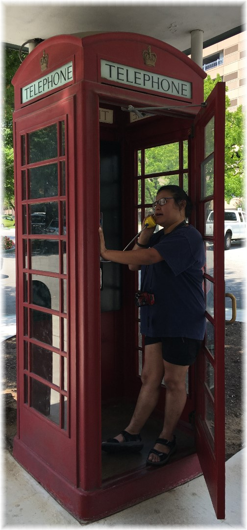 Ester in phone booth, Ithaca Square, Tulsa 8/3/17