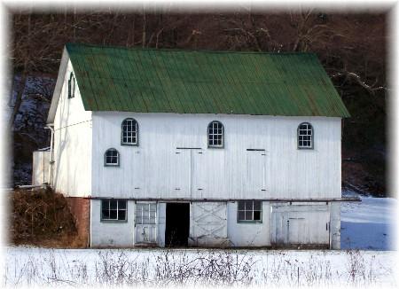 Berks County PA bank barn in snow