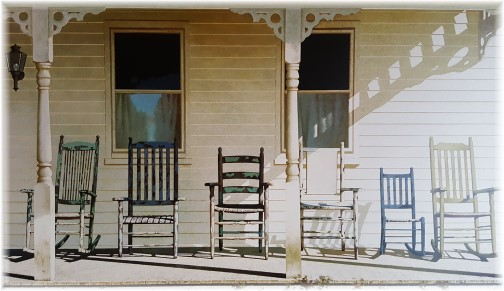 Rocking chairs on wooden porch (Picture at Dienner's Country Restaurant)