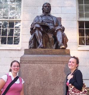 Sarah and Nicole at John Harvard Statue