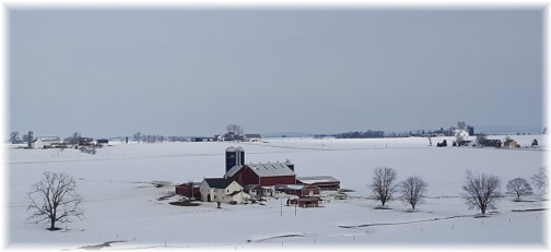 Lancaster County Amish farm in snow 1/29/16