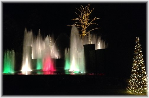 Lighted fountain at Longwood Gardens 12/19/14