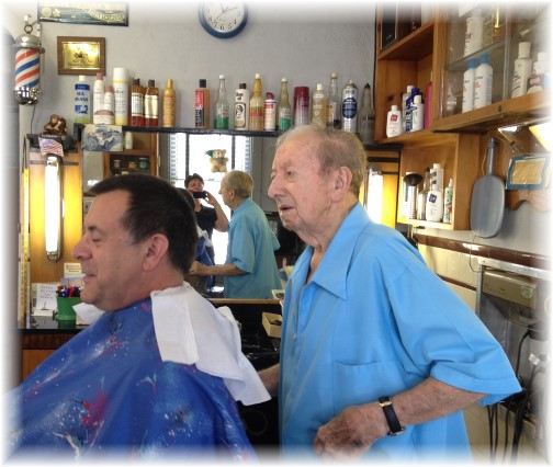 Jay Snyder barber shop, 96 year old barber