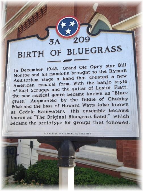 Birth of Bluegrass sign