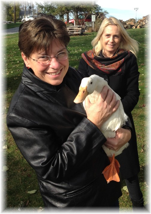Brooksyne with pet duck in Lancaster County 11/8/14
