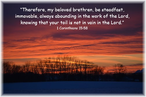 Sunset with 1 Corinthians 15:58 (Click to enlarge)